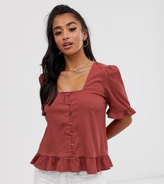 Блузка на пуговицах с квадратным вырезом Vero Moda Petite-Розовый