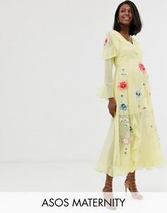 Платье макси с запахом и вышивкой ASOS DESIGN Maternity-Желтый