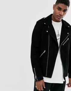 Черная замшевая байкерская куртка ASOS DESIGN-Черный