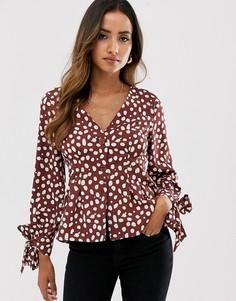 Блузка на пуговицах в горошек Vero Moda-Коричневый