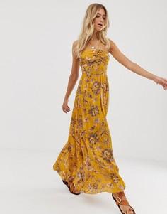 Платье макси с халтером и цветочным принтом Free People - One Step Ahead-Желтый