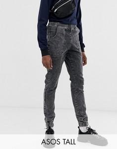 Черные мраморные джинсы-джоггеры узкого кроя ASOS DESIGN Tall-Черный