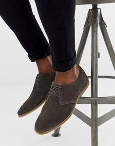 Серые замшевые туфли со шнуровкой ASOS DESIGN-Серый