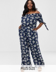Комбинезон с короткими рукавами и цветочным принтом Uttam Boutique Plus-Темно-синий