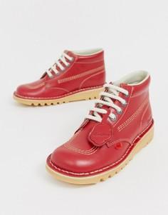 Кожаные высокие ботинки красного цвета на плоской подошве Kickers Kick Hi core-Красный