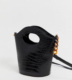 Сумка через плечо с рисунком крокодиловой кожи эксклюзивно от My Accessories - London-Черный