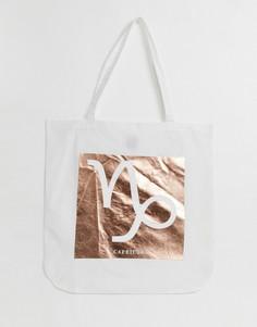 Хлопковая сумка-шоппер с принтом ASOS DESIGN-Neutral