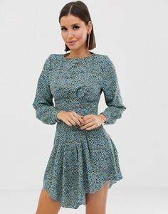 Платье мини с леопардовым принтом и длинными рукавами Girl In Mind-Мульти