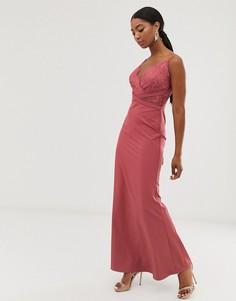 Темно-коралловое платье макси с годе и кружевным лифом Little Mistress-Розовый