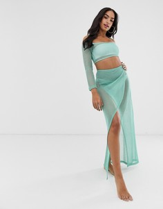 Комбинируемая трикотажная сетчатая пляжная юбка макси цвета морской волны с запахом и эффектом металлик ASOS DESIGN-Синий