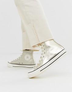 Золотистые высокие кеды Converse - chuck taylor all star-Золотой