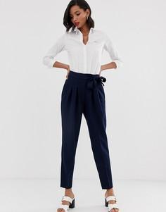 Строгие брюки с завышенной талией Closet-Темно-синий