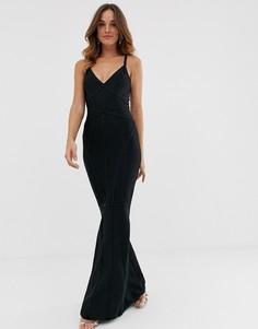 Черное платье-бандаж макси с глубоким вырезом спереди и юбкой годе Lipsy-Черный