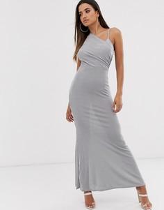 Платье макси на одно плечо с запахом спереди Missguided-Серый
