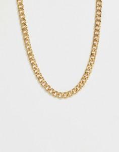 Короткая массивная цепочка золотистого цвета ASOS DESIGN-Золотой