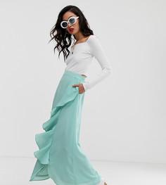 Голубая юбка макси с оборкой Na-kd-Синий