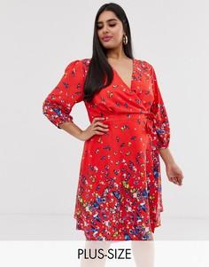 Платье с запахом и принтом бабочек Yumi Plus-Красный
