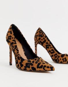 Туфли-лодочки на высоком каблуке, с острым носком и с леопардовым принтом ASOS DESIGN - Porto-Мульти
