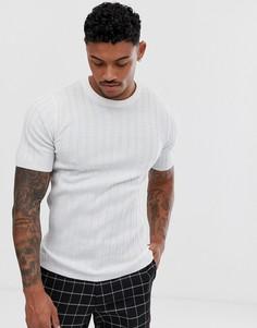 Белая трикотажная облегающая футболка в рубчик ASOS DESIGN-Белый