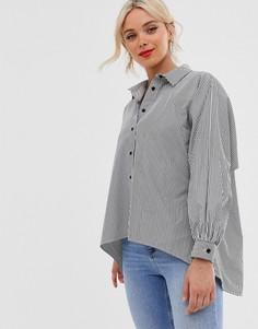 Удлиненная рубашка в тонкую полоску Love-Черный