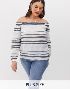 Блузка в полоску с открытыми плечами Vero Moda Curve-Мульти