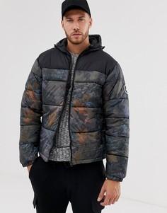 Дутая куртка с капюшоном и вставками Hype-Зеленый