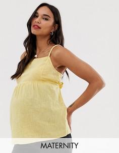 Желтый топ на бретелях с квадратным вырезом New Look Maternity