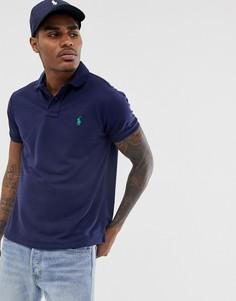 Темно-синее поло из ткани пике Polo Ralph Lauren-Темно-синий