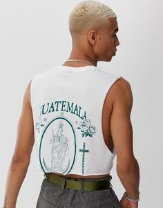 Укороченная oversize-футболка без рукавов с принтом в историческом стиле ASOS DESIGN-Белый