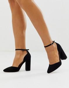 Черные туфли на высоком блочном каблуке ASOS DESIGN Pleasant-Черный