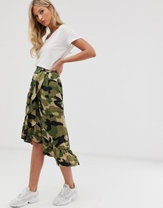 Камуфляжная юбка миди с запахом Ichi-Мульти