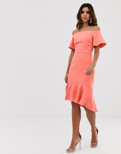 Платье миди с открытыми плечами и удлиненным краем Vesper-Оранжевый