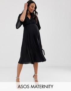 Плиссированное платье миди в стиле кимоно ASOS DESIGN Maternity-Черный