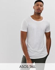 Длинная льняная футболка с глубоким вырезом и закругленным краем ASOS DESIGN Tall-Белый