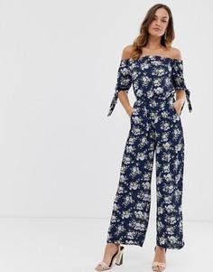 Комбинезон с цветочным принтом и завязкой на рукавах Uttam Boutique-Темно-синий