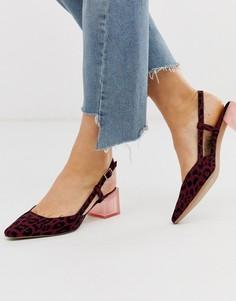 Бордовые туфли на каблуке с леопардовым принтом и ремешком на пятке ASOS DESIGN-Мульти