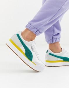 Кроссовки на платформе белого/сине-зеленого цвета Puma Roma Heritage-Мульти