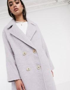 Эффектное пальто сиреневого цвета с оригинальными пуговицами ASOS DESIGN-Фиолетовый