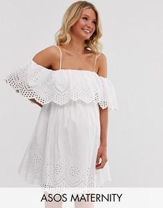Двухслойное премиум-платье мини с открытыми плечами и вышивкой ришелье ASOS DESIGN Maternity-Белый