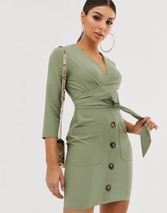 Платье мини на пуговицах с запахом ASOS DESIGN-Зеленый