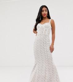 Белое кружевное платье макси с корсетом Jarlo Petite-Белый