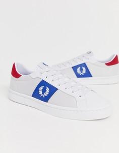 Белые кожаные сетчатые кроссовки Fred Perry Lawn-Белый