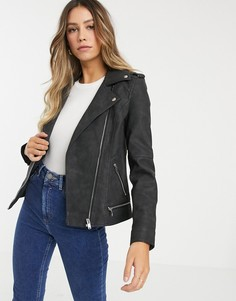 Байкерская куртка из искусственной кожи Vero Moda-Черный