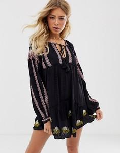 Платье мини с вышивкой Free People - Wild Horses-Черный