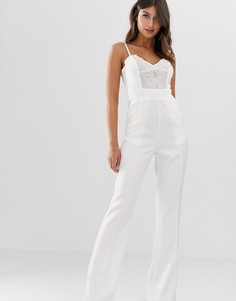 Комбинезон с широкими штанинами и кружевом Paper Dolls-Белый