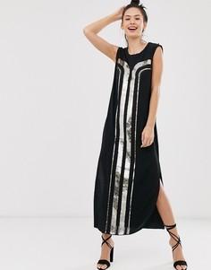 Платье-футляр с отделкой пайетками в стиле арт-деко Sass & Bide-Черный