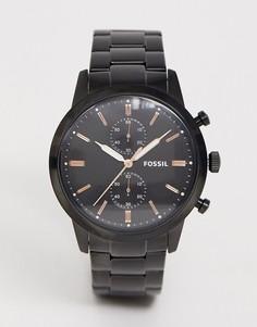 Мужские черные часы Fossil FS5379-Черный