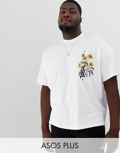 Oversize-футболка с принтом на груди ASOS DESIGN Plus-Белый