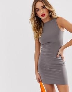 Серое премиум-платье мини без рукавов AYM-Серый