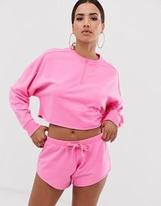 Комплект для дома из свитшота с длинными рукавами и шортами неоновой расцветки и с необработанными краями ASOS DESIGN-Розовый